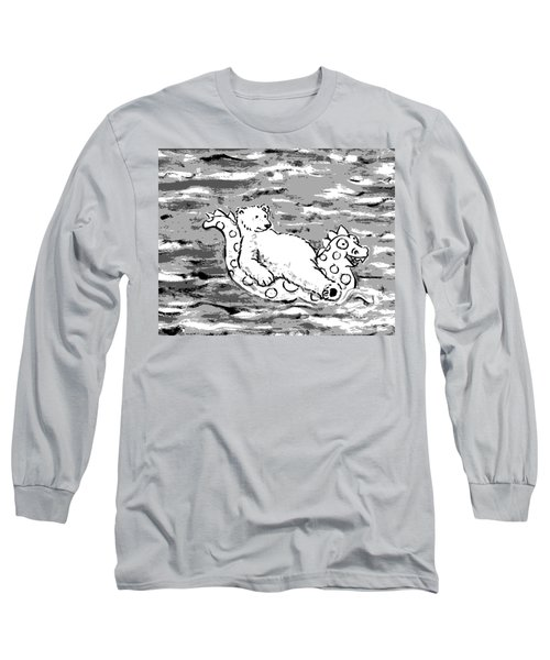 Floating Bear Grisaille Long Sleeve T-Shirt by Holly Wood