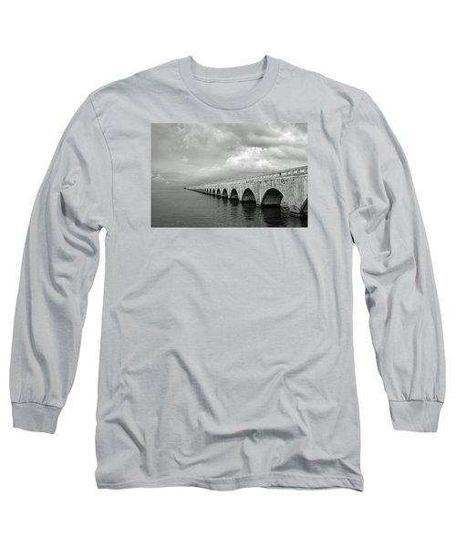 Florida Keys Seven Mile Bridge Black And White Long Sleeve T-Shirt