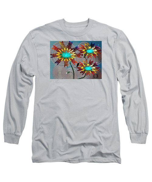 Long Sleeve T-Shirt featuring the drawing Flowering Blooms by Iris Gelbart