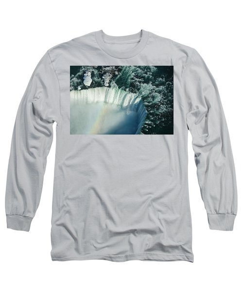 Flying Over Icy Niagara Falls Long Sleeve T-Shirt