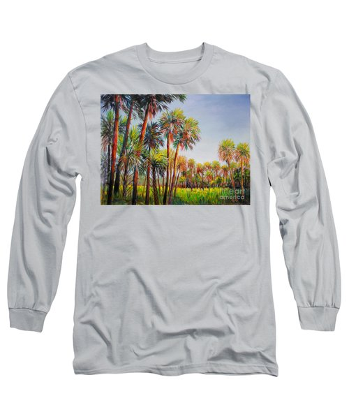 Long Sleeve T-Shirt featuring the painting Forest Of Palms by Lou Ann Bagnall