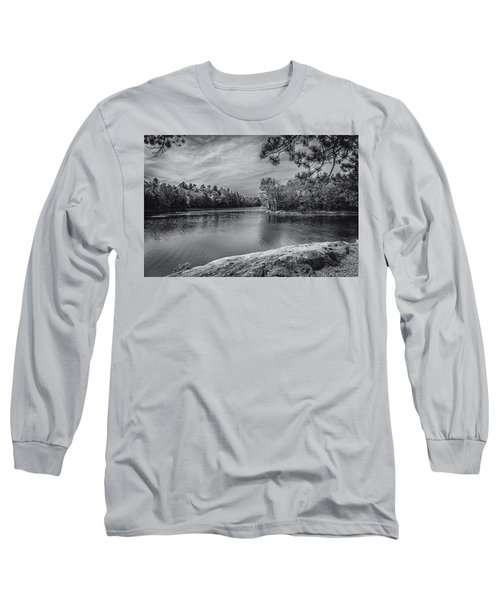 Long Sleeve T-Shirt featuring the photograph Fork In River Bw by Mark Myhaver