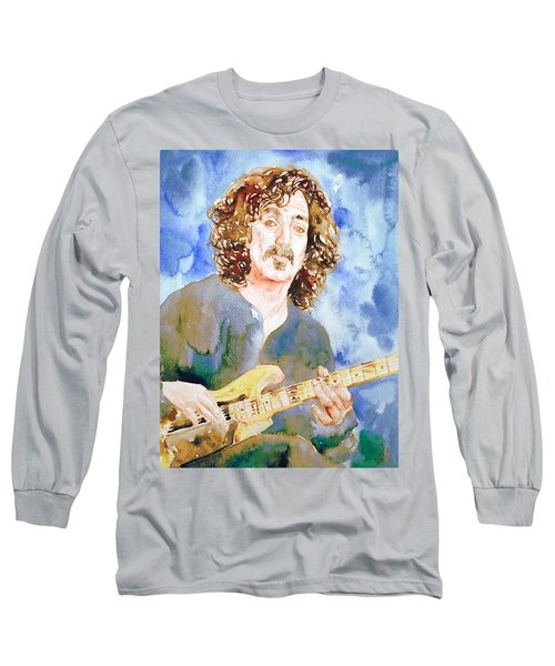Frank Zappa Playing The Guitar Watercolor Portrait Long Sleeve T-Shirt