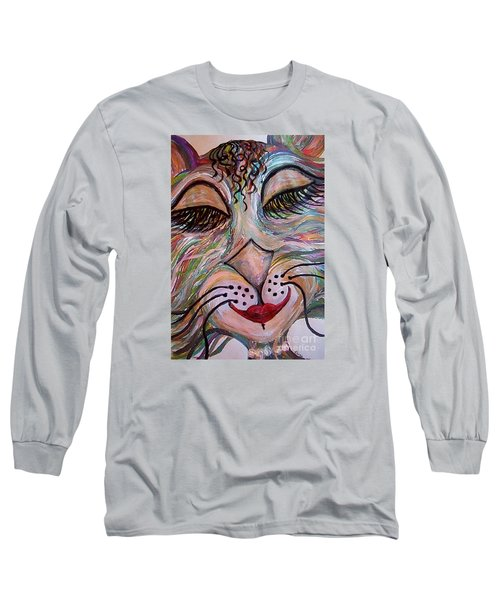 Long Sleeve T-Shirt featuring the painting Funky Feline  by Eloise Schneider