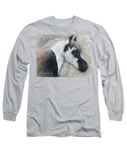 Long Sleeve T-Shirt featuring the painting Gabriel - The Angel Is In His Face by Barbie Batson