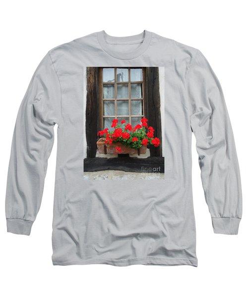 Geraniums In Timber Window Long Sleeve T-Shirt by Barbie Corbett-Newmin