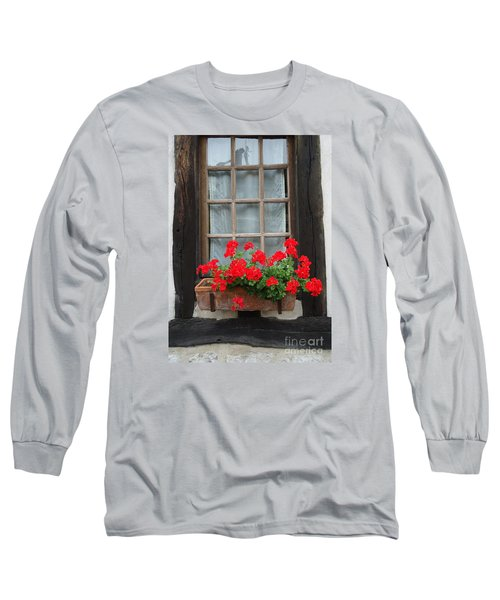 Geraniums In Timber Window Long Sleeve T-Shirt