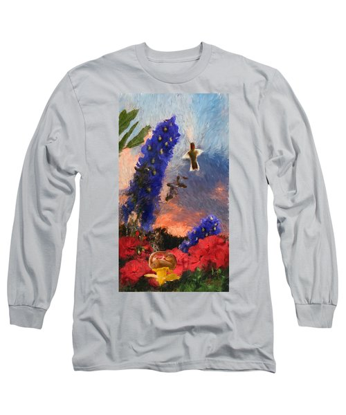 Geraniums Red And Delphiniums Blue Long Sleeve T-Shirt