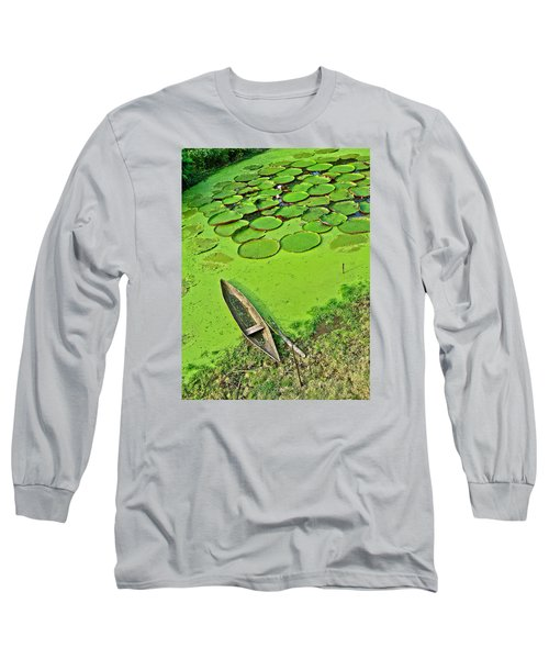 Giant Water Lilies And A Dugout Canoe In Amazon Jungle-peru Long Sleeve T-Shirt by Ruth Hager