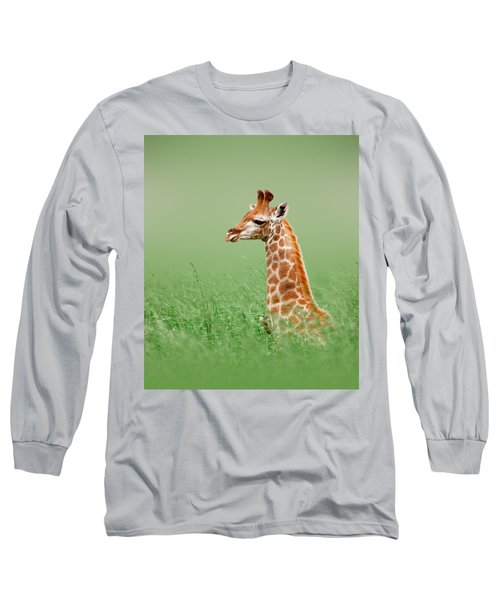 Giraffe Lying In Grass Long Sleeve T-Shirt