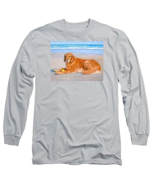 Long Sleeve T-Shirt featuring the painting Golden Murphy by Karen Zuk Rosenblatt