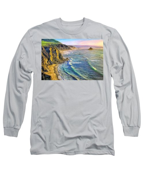 Golden Sunset At Big Sur Long Sleeve T-Shirt
