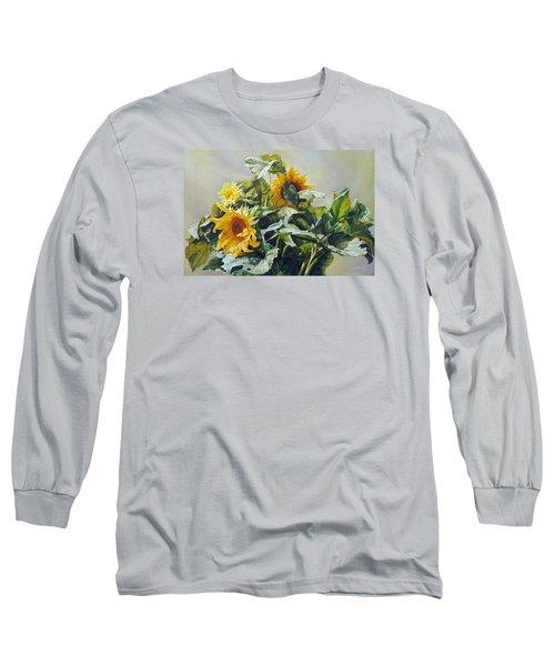 Good Morning - Sunflower In Love Long Sleeve T-Shirt by Svitozar Nenyuk
