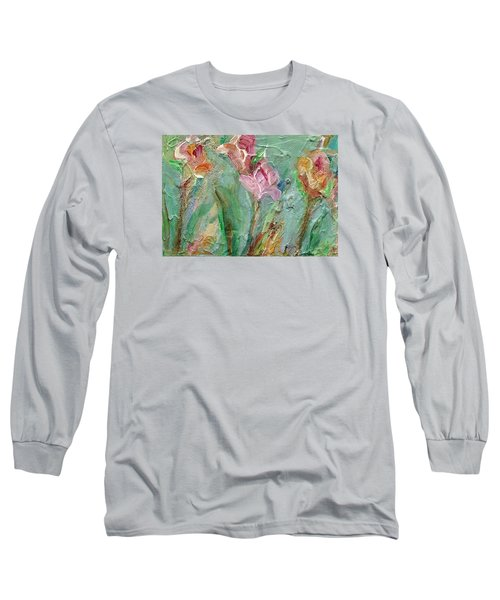 Long Sleeve T-Shirt featuring the painting Grace's Garden by Mary Wolf