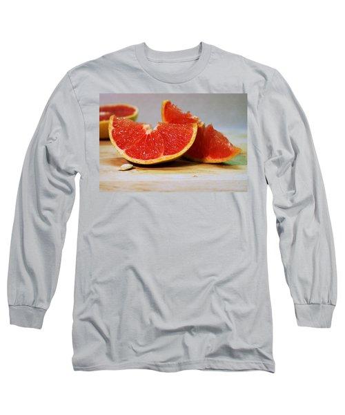 Grapefruit Slices Long Sleeve T-Shirt by Joseph Skompski