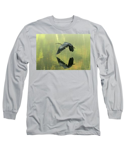 Great Blue Fly-by Long Sleeve T-Shirt by Douglas Stucky