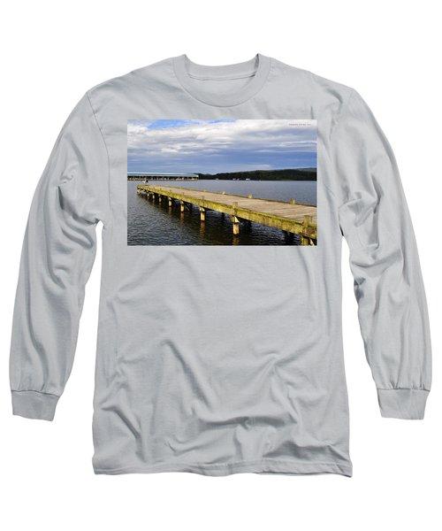 Great Blue Heron Sunning On The Dock Long Sleeve T-Shirt by Verana Stark