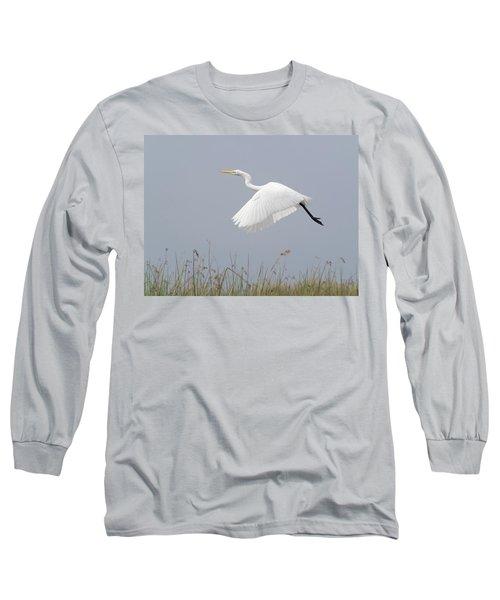Great Egret Ardea Alba In Flight Long Sleeve T-Shirt
