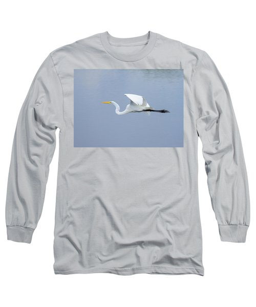Long Sleeve T-Shirt featuring the photograph Great Egret In Flight by John M Bailey