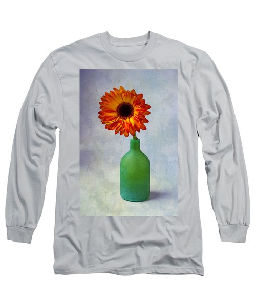Green Bottle With Orange Daisy Long Sleeve T-Shirt