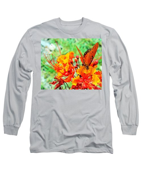 Gulf Fritillary Butterfly On Pride Of Barbados Long Sleeve T-Shirt