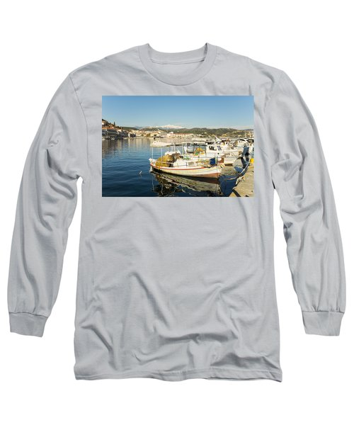 Gytheion Harbour Long Sleeve T-Shirt by Mike Santis