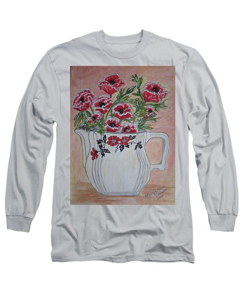 Hall China Red Poppy And Poppies Long Sleeve T-Shirt by Kathy Marrs Chandler