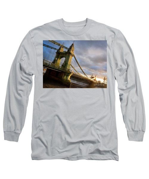 Long Sleeve T-Shirt featuring the photograph Hammersmith Bridge In London by Peta Thames