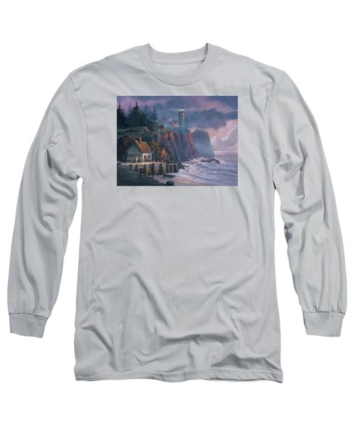 Harbor Light Hideaway Long Sleeve T-Shirt by Michael Humphries