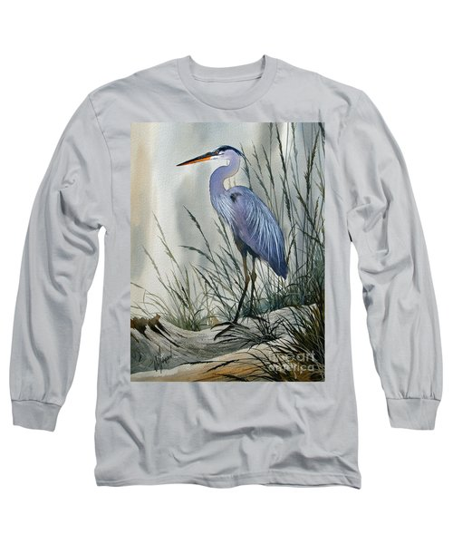 Herons Sheltered Retreat Long Sleeve T-Shirt by James Williamson