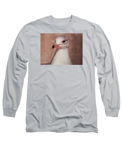 Long Sleeve T-Shirt featuring the photograph Beach Gull On The Hunt by Belinda Lee