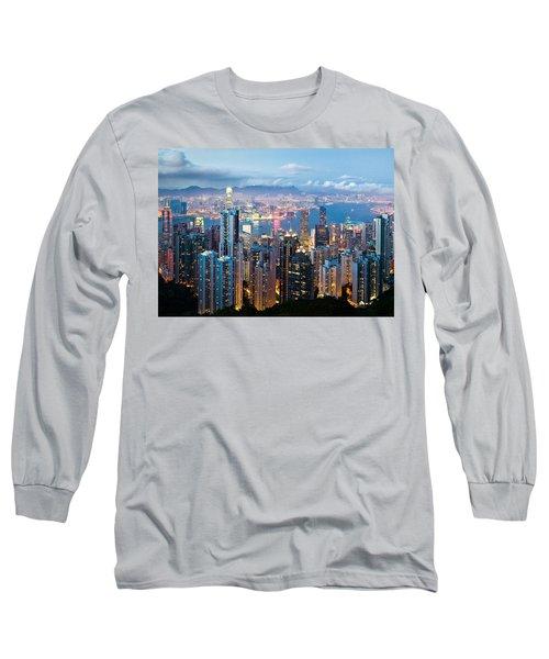 Hong Kong At Dusk Long Sleeve T-Shirt