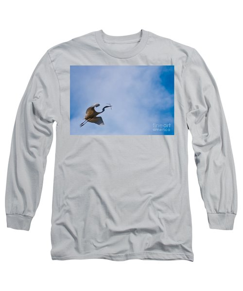 Hopeful Egret Building A Home  Long Sleeve T-Shirt
