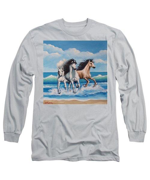 Horses On A Beach Long Sleeve T-Shirt