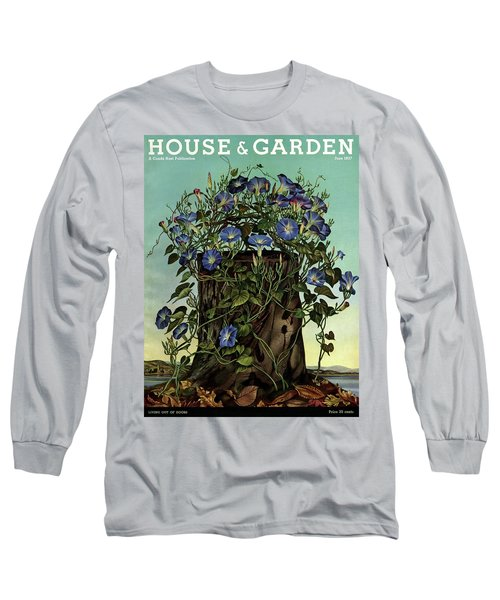House And Garden Cover Featuring Flowers Growing Long Sleeve T-Shirt
