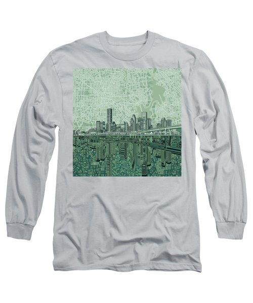 Houston Skyline Abstract 2 Long Sleeve T-Shirt