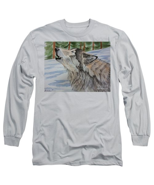 Howling Wolf In Winter Long Sleeve T-Shirt