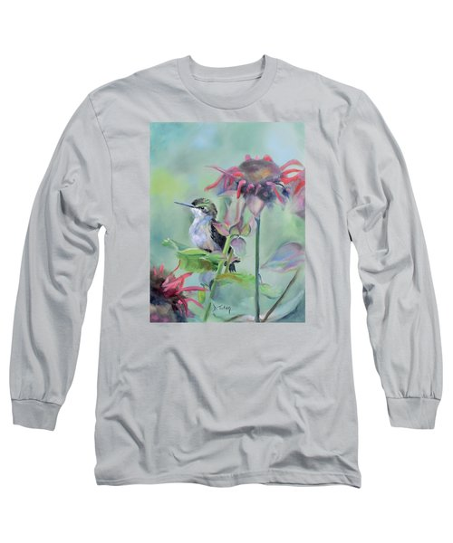 Hummingbird And Coneflowers Long Sleeve T-Shirt