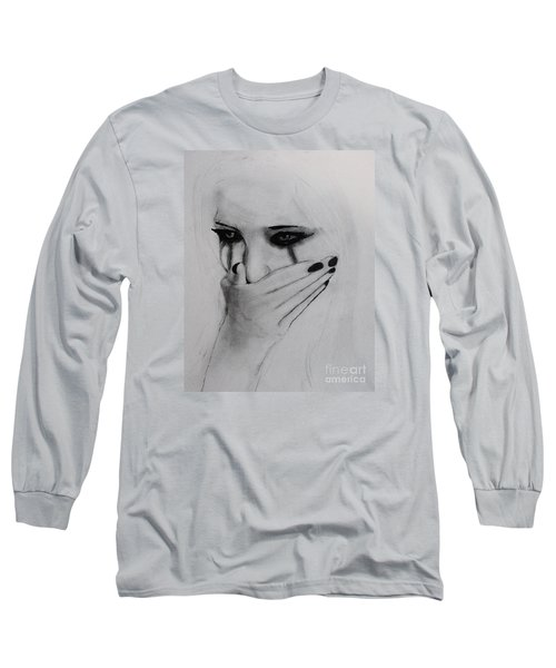 Long Sleeve T-Shirt featuring the drawing Hurt by Michael Cross