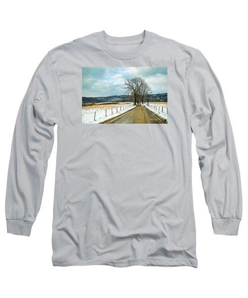 Hyatt Lane In Snow Long Sleeve T-Shirt by Debbie Green