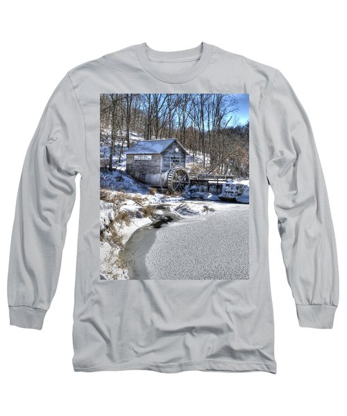 Long Sleeve T-Shirt featuring the photograph Hyde's  Mill In The Winter by Janice Adomeit