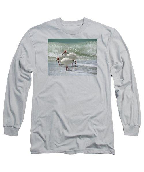 Long Sleeve T-Shirt featuring the pastel Ibis Pair by Melinda Saminski