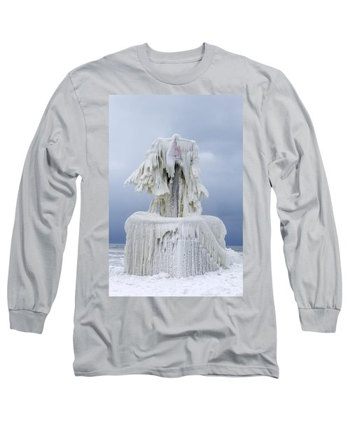Ice Covered Warning Tower Along Lake Michigan In St. Joseph Michigan Long Sleeve T-Shirt