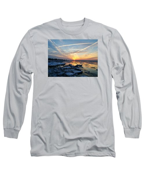 Ice On The Delaware River Long Sleeve T-Shirt by Ed Sweeney