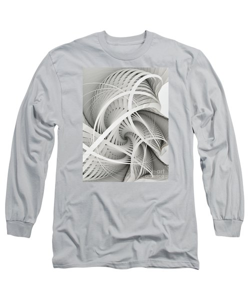 In Betweens-white Fractal Spiral Long Sleeve T-Shirt by Karin Kuhlmann