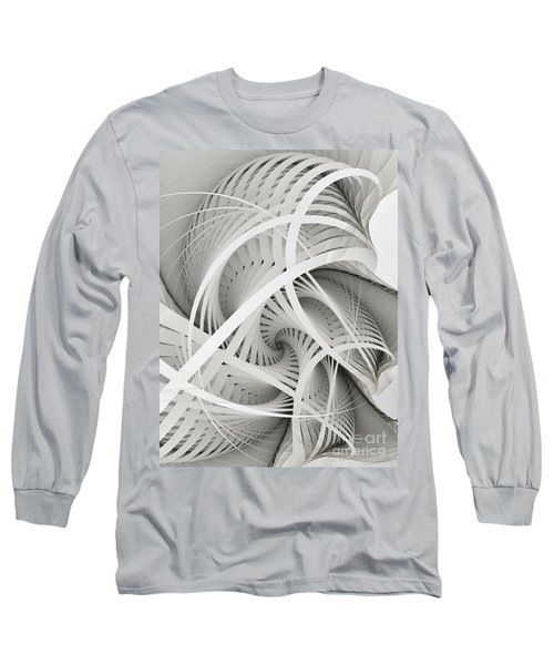 In Betweens-white Fractal Spiral Long Sleeve T-Shirt