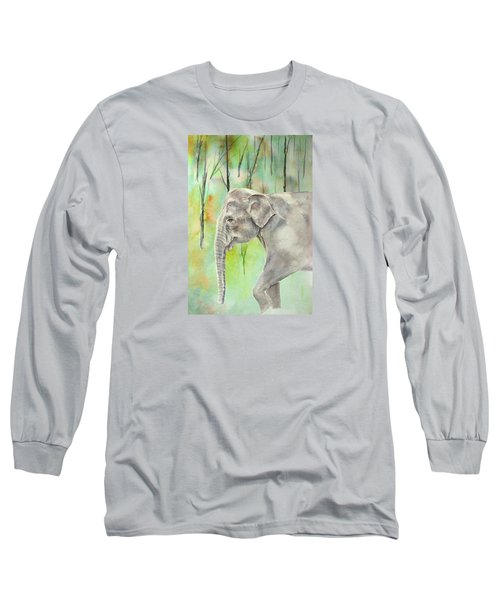 Indian Elephant Long Sleeve T-Shirt by Elizabeth Lock