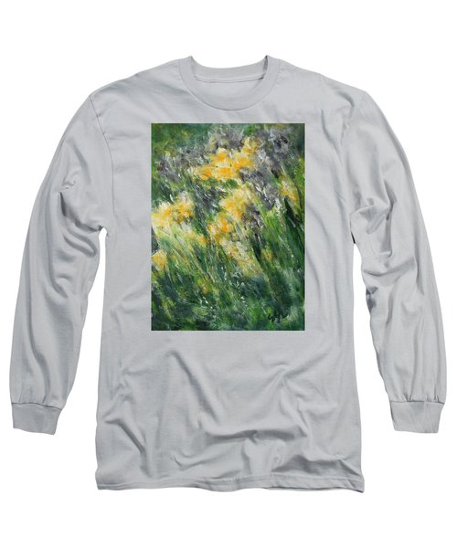 Long Sleeve T-Shirt featuring the painting Irises by Jane See