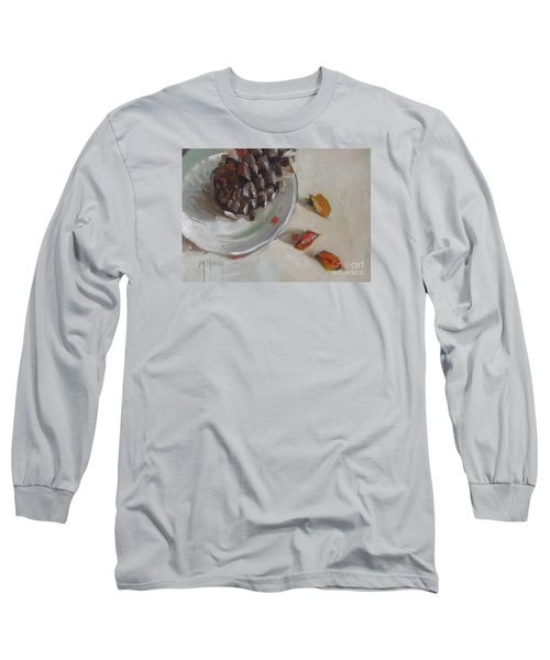 Pine Cone Still Life On A Plate Long Sleeve T-Shirt by Mary Hubley