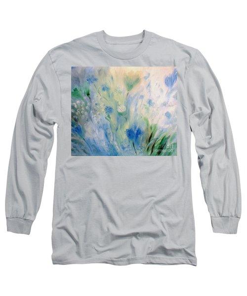 Jardin Bleu Long Sleeve T-Shirt by Julie Brugh Riffey
